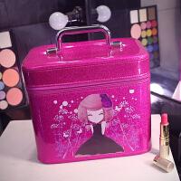 女化妆包韩国化妆箱手提防水化妆品收纳包大小号容量带镜