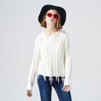 【2件2.5折到手价:47.5】美特斯邦威绞花毛边套头针织衫女士冬装新款潮流毛衫商场同款