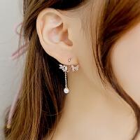 欧丁925纯银耳针韩国气质女耳钉蝴蝶不对称后挂式耳环耳坠H
