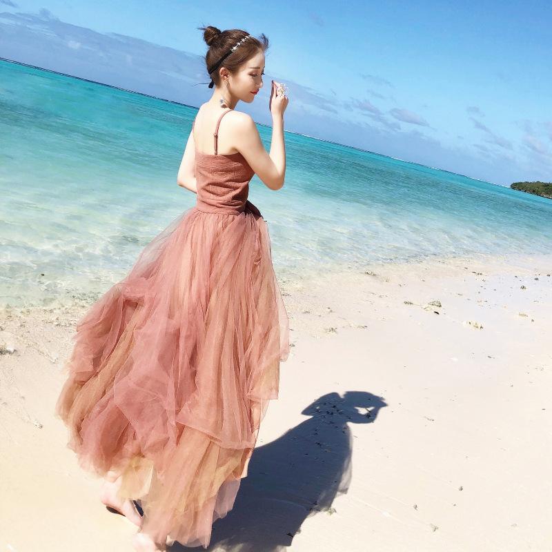 №【2019新款】海边穿的2019春夏新款性感吊带网纱连衣裙仙女蓬蓬裙海边旅游度假沙滩长裙