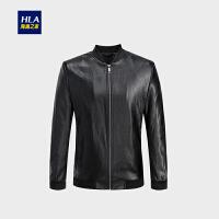 HLA/海澜之家PU皮夹克2018秋季新品时尚柔软舒适男士外套