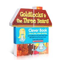 【全店300减100】原版英文 积木操作书Goldilocks & the Three Bears萌巧书:歌蒂拉和三只小