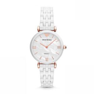 阿玛尼(Emporio Armani)手表 陶瓷表带女士休闲商务石英腕表 AR1486