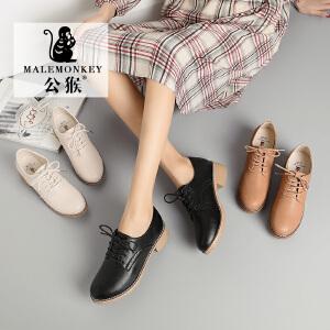 公猴人气爆款英伦风女鞋2019春季新款舒适时尚小皮鞋粗跟学院chic百搭软妹休闲单鞋