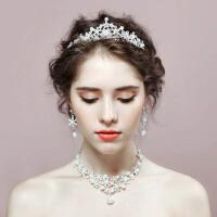 新娘头饰套装结婚发饰婚纱首饰品皇冠项链耳环三件套 +(三件套装)