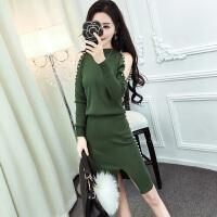 韩版2017秋冬季新款女装时尚套装裙性感露肩钉珠小香风气质两件套