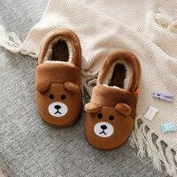 小孩棉拖鞋拖鞋女冬季1-3岁男儿童居家拖鞋防滑保暖小孩毛毛包跟棉鞋lkf