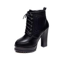粗跟真皮马丁靴绑系鞋带高跟女靴秋冬天加绒短靴二棉鞋大码单靴子真皮 黑色
