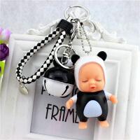 可爱卡通睡萌宝宝钥匙链韩国情侣钥匙扣女男款汽车钥匙圈铃铛挂件