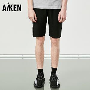 森马旗下Aiken休闲短裤男士夏装新款运动裤子直筒黑色学生字母潮