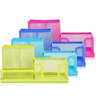 得力9154/9175网状收纳筒多功能组合笔筒座笔插 彩色文具盒整理盒全场满50包邮