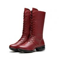 15新款高筒舞蹈鞋加绒加棉真皮跳舞鞋软底舞蹈靴秋冬季现代舞女鞋