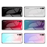 华为p30手机壳 华为p30pro保护套 华为p30/p30pro钢化玻璃镜面支架情侣简约网红渐变硬彩绘保护壳
