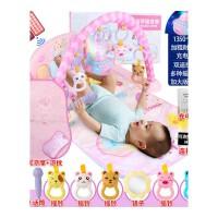 宝宝健身架脚踏钢琴新生婴儿床上玩具带音乐早教多功能游戏垫抖音 粉红色 大号豪华粉 其它尺寸