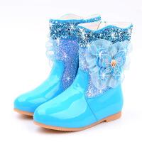 女童靴子秋冬新款公主短靴蝴蝶结儿童加绒棉靴平底中筒靴