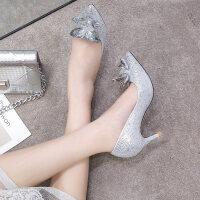 灰姑娘水晶鞋2018新款尖头高跟鞋细跟水钻婚纱鞋红色新娘鞋婚鞋女