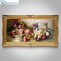 欧式古典油画纯手绘花卉别墅客厅餐厅玄关装饰画卧室挂画富贵花开