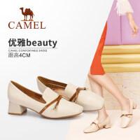 骆驼女鞋 秋季新款 深口粗跟复古单鞋方头韩版百搭中跟鞋子女