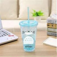 可爱夏日冰杯奶茶水果茶杯 塑料杯子水杯学生吸管杯 450ML 两款可选