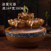 陶瓷流水摆件陶瓷荷叶客厅桌面喷泉招财鱼缸家居水景装饰品
