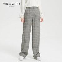 【2件1.5折价:112.4,18日0点可叠券】纯羊毛MECITY女装格纹利直筒宽松长裤