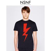 NSNF撞色闪电纯棉圆领黑色男款T恤 男装2017短袖新款 修身针织短袖潮牌