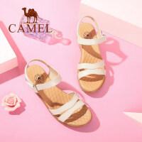 Camel/骆驼女鞋 2018夏季新款 简约真皮坡跟凉鞋舒适厚底平底鞋妈妈鞋