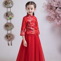 儿童旗袍秋花童中国风唐装宝宝小女孩公主裙女童婚纱礼服红色长袖 红色