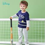 【2.6折价:46.02】迪士尼Disney童装 男童套装春季假两件拼接长袖T恤两件套宝宝卡通印花外出服191T872
