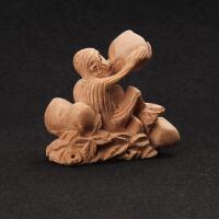家居摆件生肖摆件木雕猴家居手工无漆桃木猴摆件