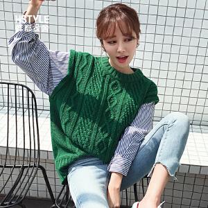 【1件3折:118.2元】韩都衣舍2019春装新款女装韩版拼接假两件针织衫毛衣JM8887�S