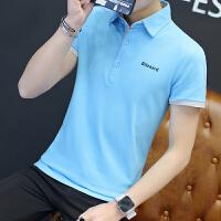 2018夏季新款韩版男士体恤POLO衫 �B恤夏装修身男士衬衫领短袖T恤
