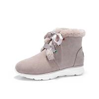骆驼牌雪地靴女皮毛一体冬季保暖加绒短靴 圆头防滑休闲短靴