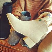 秋冬季韩版及踝靴子女加绒圆头百搭复古侧拉链马丁靴短筒粗跟短靴
