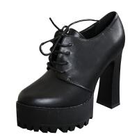 欧美风粗跟短靴2018新款秋季女鞋性感系带防水台高跟厚底圆头单靴软底