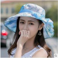 甜美碎花韩版大花朵遮阳帽凉帽太阳帽沙滩帽子女海边度假防晒帽大帽檐