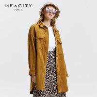 【1件3折价:170.7,可叠券】纯棉MECITY女装秋季中长款灯芯绒宽松风衣外套女