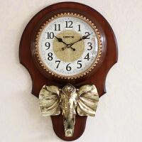 新款大象挂钟客厅大号中式装饰现代时钟静音石英钟家用实木墙壁钟 H439 20英寸