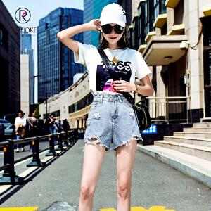 欧若珂   2018夏季牛仔短裤女破洞性感高腰新款潮流宽松显瘦阔腿热裤潮