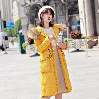 棉衣女中长款韩版收腰加厚羽绒冬装大毛领外套女棉袄