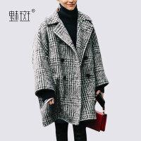 【新年狂欢到手价:388.8】魅斑格子毛呢外套女秋冬中长款宽松双排扣茧型时尚羊绒呢子大衣