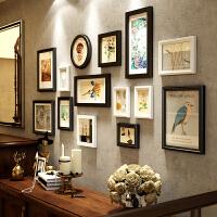 复古怀旧照片墙相框墙实木相框组合悬挂墙画框餐厅客厅装饰图片墙