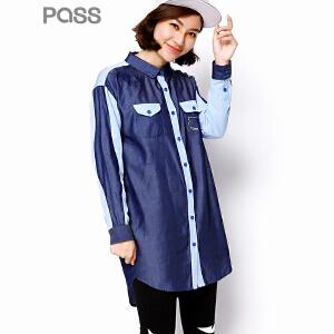 PASS潮牌秋装新款 时尚街头宽松休闲百搭长袖中长款衬衫女6630212029