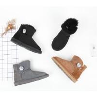 889 羊皮毛一体闪亮扣子款低跟保暖雪地靴