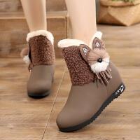 韩版13女孩冬季初中学生15内增高加绒保暖内短靴12大童雪地靴11岁