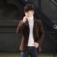 2018新款冬季毛呢大衣男士短款呢子修身风衣韩版青年加绒加厚潮流外套