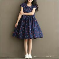 大码女装夏季韩版文艺复古樱桃娃娃领收腰显瘦百褶打底连衣裙