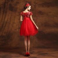 孕妇敬酒服新娘高腰中式婚纱礼服2017新款秋冬季短款大码连衣裙女 红色