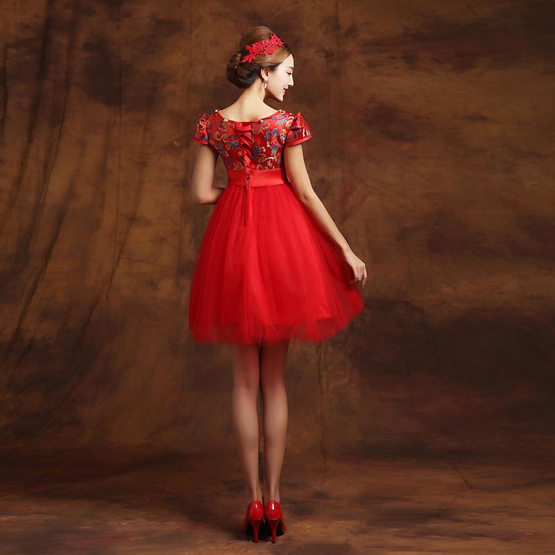 孕妇敬酒服新娘高腰中式婚纱礼服新款秋冬季短款大码连衣裙女 红色 发货周期:一般在付款后2-90天左右发货,具体发货时间请以与客服协商的时间为准
