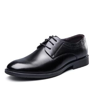意尔康男鞋2018秋新款商务正装系带绅士皮鞋婚鞋皮鞋子